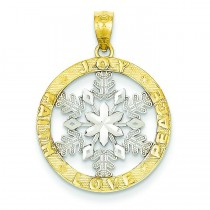 Joy Peace Love Faith Snowflake Pendant in 14k Yellow Gold
