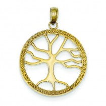 Tree Of Life In Frame Pendant in 14k Yellow Gold