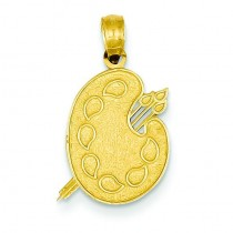 Painters Pallet Pendant in 14k Yellow Gold