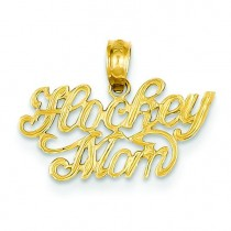 Hockey Mom Pendant in 14k Yellow Gold