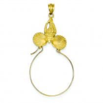 Sea Shell Charm Holder in 14k Yellow Gold