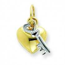 Heart Key Charm in 14k Two-tone Gold
