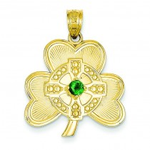 Shamrock Green CZ Stone Pendant in 14k Yellow Gold