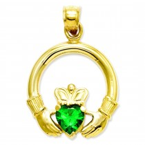 Claddagh Green Stone Pendant in 14k Yellow Gold