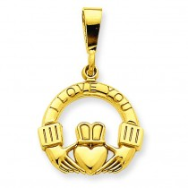I Love You Claddagh Pendant in 14k Yellow Gold