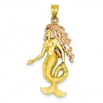 Mermaid Charm in 14k Two-tone Gold