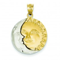Sun Moon Charm in 14k Two-tone Gold