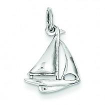 Sailboat Charm in 14k White Gold