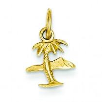 Island Palm Tree Charm in 14k Yellow Gold