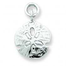 Sand Dollar Charm in 14k White Gold