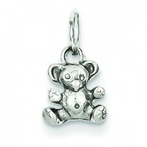 Teddy Bear Charm in 14k White Gold