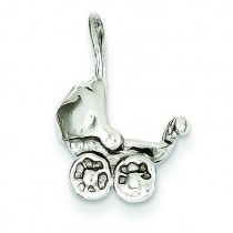 Baby Carriage Charm in 14k White Gold
