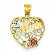 Number One Mom In Heart Pendant in 14k Yellow Gold