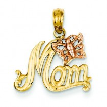 Mom Butterfly Pendant in 14k Yellow Gold