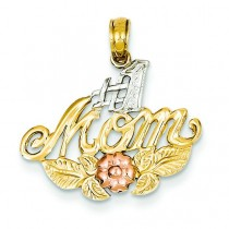 Number One Mom Flower Pendant in 14k Yellow Gold