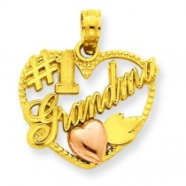 Number One Grandma In Heart Frame Pendant in 14k Yellow Gold