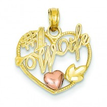 Number One Wife In Heart Pendant in 14k Yellow Gold
