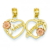 Mom Daughter Breakable Hearts Pendant in 14k Yellow Gold