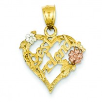 Best Friend Heart Pendant in 14k Yellow Gold