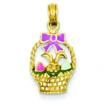 Easter Basket Bunny Pendant in 14k Yellow Gold