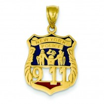 New York Police Badge Pendant in 14k Yellow Gold