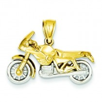 Motorcycle Pendant in 14k Yellow Gold