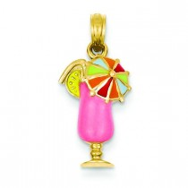 Pink Tropical Drink Pendant in 14k Yellow Gold