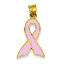 Large Pink Awareness Ribbon Pendant in 14k Yellow Gold