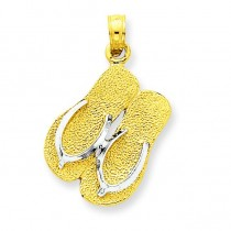 Large Double Flip Flop Pendant in 14k Yellow Gold