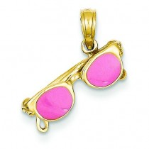 Pink Sunglasses Pendant in 14k Yellow Gold