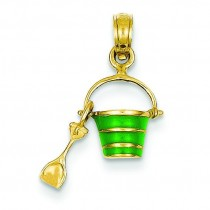 Green Beach Bucket Shovel Pendant in 14k Yellow Gold