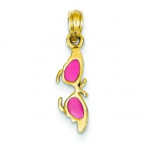 Pink Butterfly Sunglasses Pendant in 14k Yellow Gold