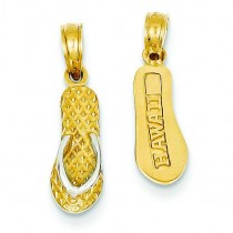 Hawaii Flip Flop Pendant in 14k Yellow Gold
