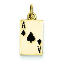 Ace Of Spades Card Charm in 14k Yellow Gold