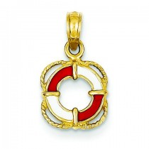 Lifesaver Ring Pendant in 14k Yellow Gold