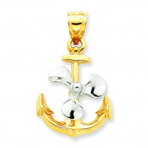 Anchor Propeller Pendant in 14k Yellow Gold