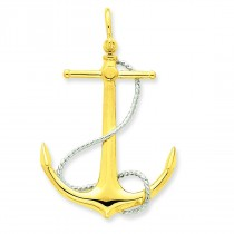 Anchor Entwined Rope Accent Pendant in 14k Yellow Gold