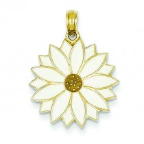 White Daisy Flower Pendant in 14k Yellow Gold