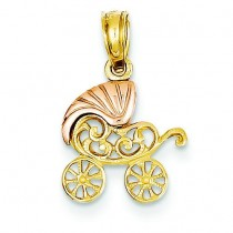 Baby Stroller Pendant in 14k Two-tone Gold
