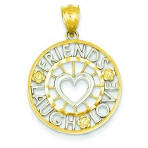 Friends Laugh Love Circle Pendant in 14k Yellow Gold