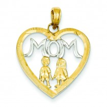 Mom Kids Heart Pendant in 14k Yellow Gold