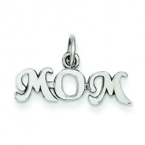 Mom Charm in 14k White Gold