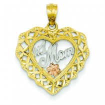 Number One Number One Mom Heart Pendant in 14k Two-tone Gold