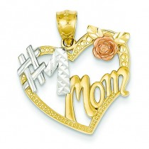 Number One Mom Heart Pendant in 14k Two-tone Gold