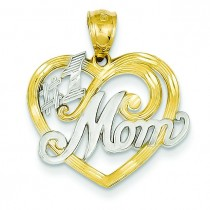 Mom Heart Pendant in 14k Yellow Gold