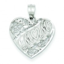 Mom Heart Pendant in 14k White Gold
