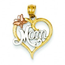 Mom Heart Pendant in 14k Two-tone Gold
