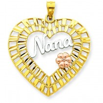 Diamond Cut Nana Heart Pendant in 14k Tri-color Gold