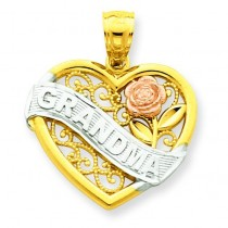 Grandma Heart Pendant in 14k Two-tone Gold