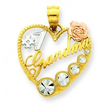 Number One Grandma Heart Pendant in 14k Tri-color Gold